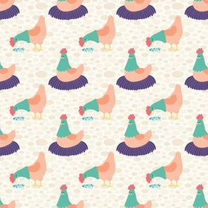 Bright Hens on Cream Background