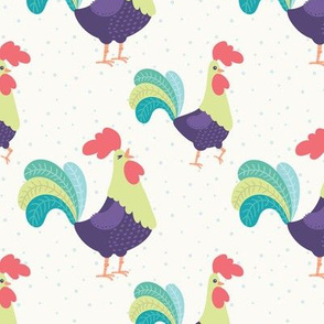 Bright Roosters on Light Background