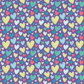Bright Colorful Hearts Purple Background