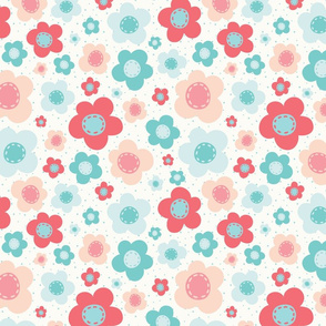 Bright Pink and Blue Retro Flowers on White