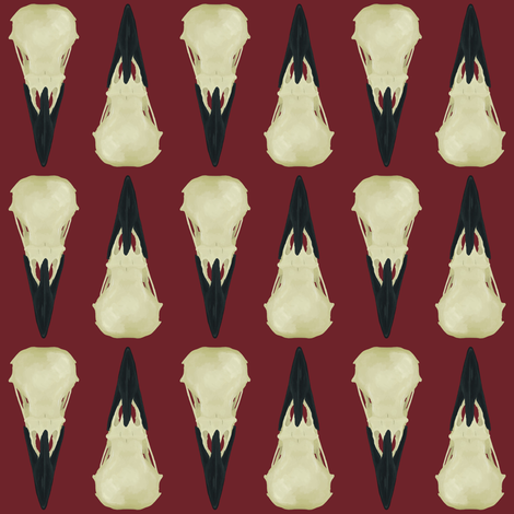 Raven Skulls on red background fabric by arts_and_herbs on Spoonflower - custom fabric