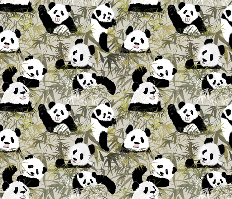 PEEK A BOO PANDAS fabric by bluevelvet on Spoonflower - custom fabric