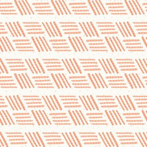 Peach Pink Basket Weave Stripe