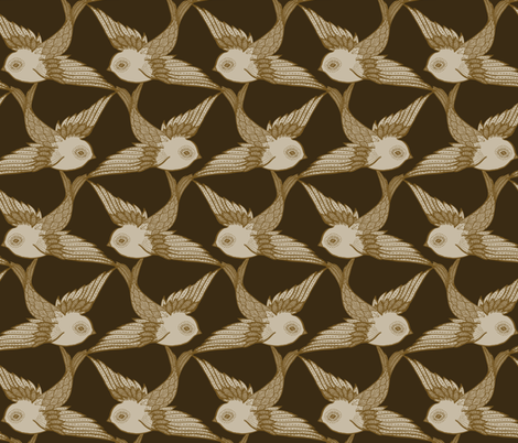 Two Birds {Antique} fabric by ceciliamok on Spoonflower - custom fabric