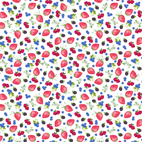 "1/2"" berries on white fabric by lil'faye on Spoonflower - custom fabric"