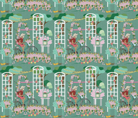 Sloth Riding in a Garden, bicycle, flowers, garden chairs, flower pots, trees with lights, Sloth, trellis, roses fabric by applebutterpattycake on Spoonflower - custom fabric