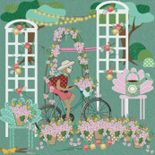 Sloth Riding in a Garden, bicycle, flowers, garden chairs, flower pots, trees with lights, Sloth, trellis, roses