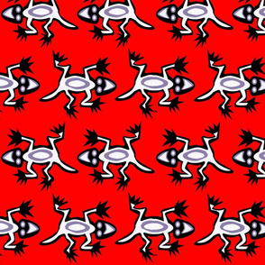 lizards on red