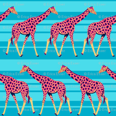 Bright Giraffes on Blue Stripes