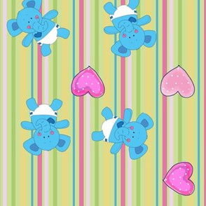 Baby Elephant Striped Fabric