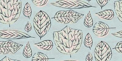 Inked LEAVES-Pastel Large
