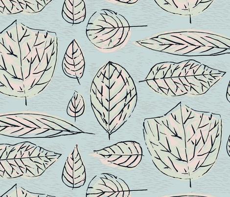 Inked LEAVES-Pastel Large fabric by elizabeth_hale_design on Spoonflower - custom fabric