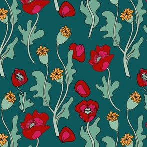 Red poppies on dark teal