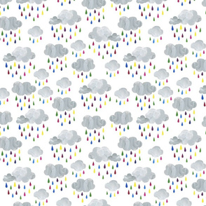 Rainbow Raindrops and Rain Clouds