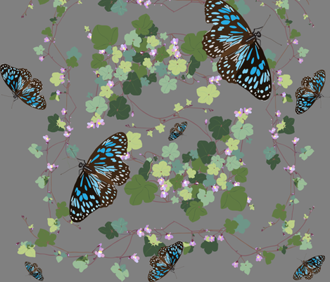 2941 Australian-Native-Violet-and-Blue-Butterfly-Grey fabric by jennieholtsbaumdesign on Spoonflower - custom fabric