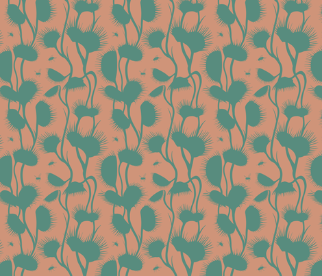 Venus Fly Trap (peach & green) fabric by new_branch_studio on Spoonflower - custom fabric