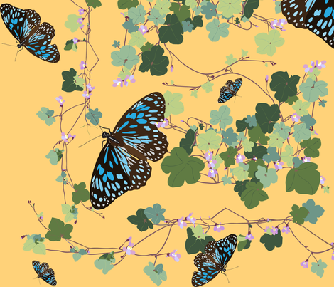 2941 Australian-Native-Violet-and-Blue-Butterfly-Yellow fabric by jennieholtsbaumdesign on Spoonflower - custom fabric