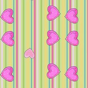 Hearts Striped Fabric