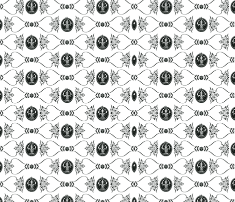 Maid of Plenty_BW fabric by backyarddesigner on Spoonflower - custom fabric