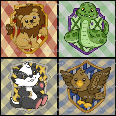 Magic School Houses with plaid on black wallpaper