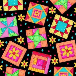 Multicolor Quilt Art Blocks Black Large