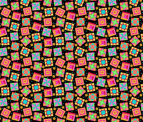 Multicolor Quilt Block Art Black Small fabric by phyllisdobbs on Spoonflower - custom fabric