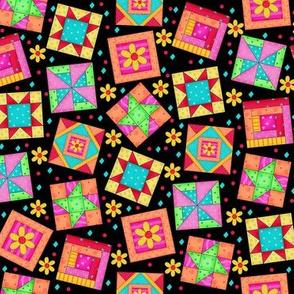 Multicolor Quilt Block Art Black Small