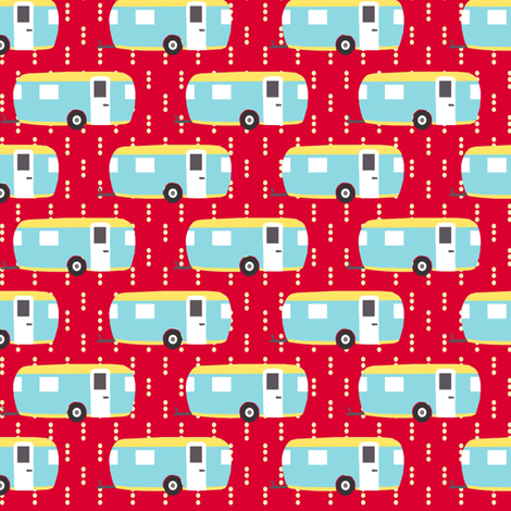Roughing It Campers Red fabric by lauriewisbrun on Spoonflower - custom fabric