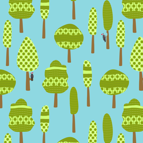 Roughing It Trees Blue Green fabric by lauriewisbrun on Spoonflower - custom fabric