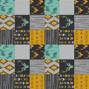 "3"" Gold and Neptune Boho Wholecloth Quilt - deer, arrows, fox with grey, yellow gold, and teal/mint  - ROTATED"