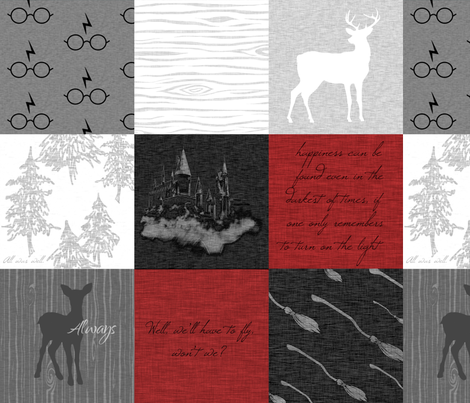 Always Quilt - wizard quotes - Red,Black, white, grey fabric by sugarpinedesign on Spoonflower - custom fabric