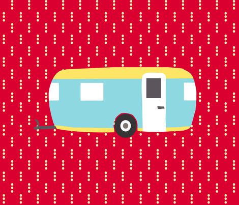Roughing It Campers Red Fat Quarter fabric by lauriewisbrun on Spoonflower - custom fabric