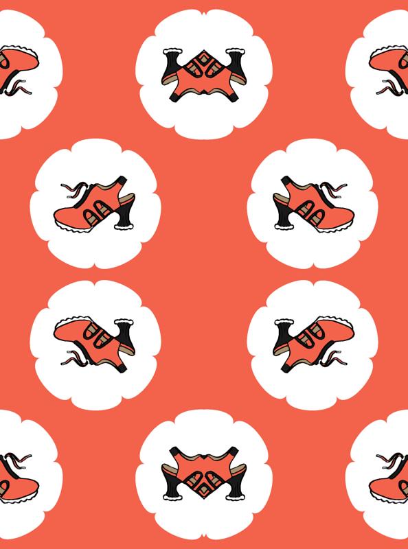 Fluevog Orion Shoes / Orange wallpaper - anne-m-bray