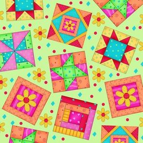 Multicolor Quilt art Blocks Green Large