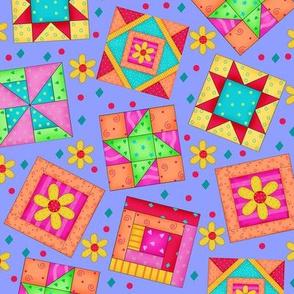 Quilt Art Blocks Periwinkle Purple Large