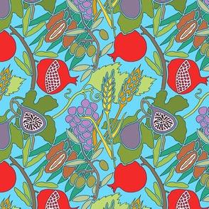 Seven Species Botanical Print on Aqua - MINI Scale