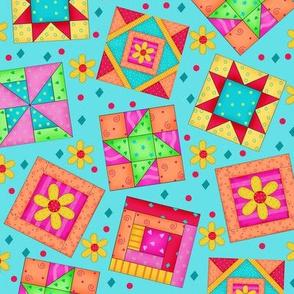 Multicolor Quilt Art Blocks Turquoise Large