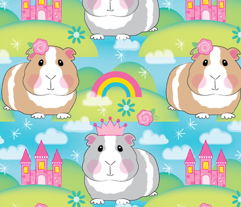 jumbo princess guinea pigs fabric by lilcubby on Spoonflower - custom fabric