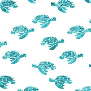sea turtles in aqua