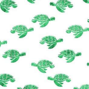 sea turtles in green