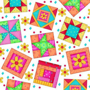 Multicolor Quilt Art Blocks White Large