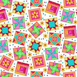 Multicolor Quilt Art Blocks White Small