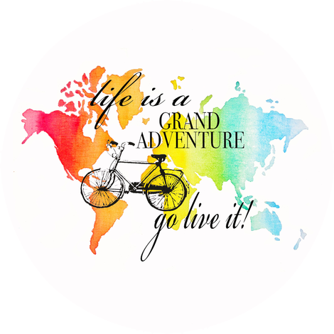 Watercolor World Map And Bike Wallpaper Designed By