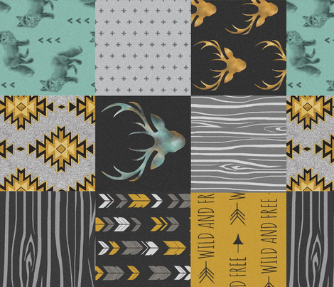 Gold and Neptune Boho Wholecloth Quilt - deer, arrows, fox with grey, yellow gold, and teal/mint  - ROTATED  fabric by sugarpinedesign on Spoonflower - custom fabric