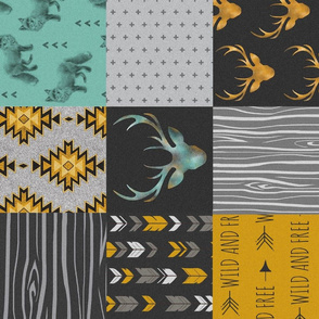 Gold and Neptune Boho Wholecloth Quilt - deer, arrows, fox with grey, yellow gold, and teal/mint  - ROTATED
