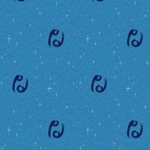 """1"""" Cancer Zodiac Symbol on Ultramarine"""