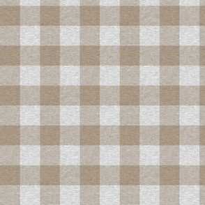 """2"""" textured plaid - light brown and grey"""