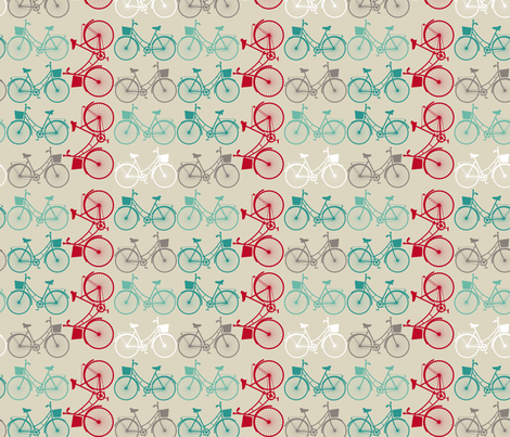 Vintage bicycles fabric by ekaterinap on Spoonflower - custom fabric