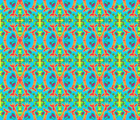 X-tinction Twiga 1  in Pink Green Yellow & Turquoise fabric by tabasamu_design on Spoonflower - custom fabric