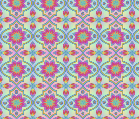 Large Marrakesh Rainbow Tile  fabric by karwilbedesigns on Spoonflower - custom fabric